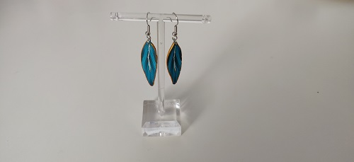 Boucle d'oreille plume turquoise