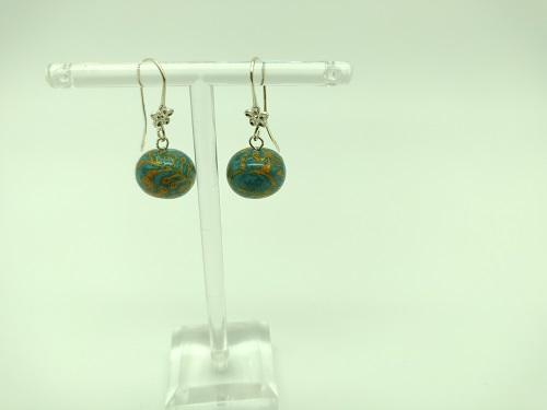 Boucle d'oreille turquoise or