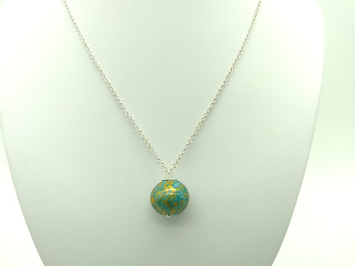 Pendentif boule turquoise or