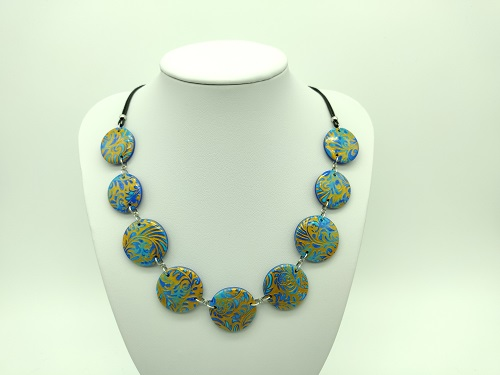 Collier bleu vif, turquoise, or