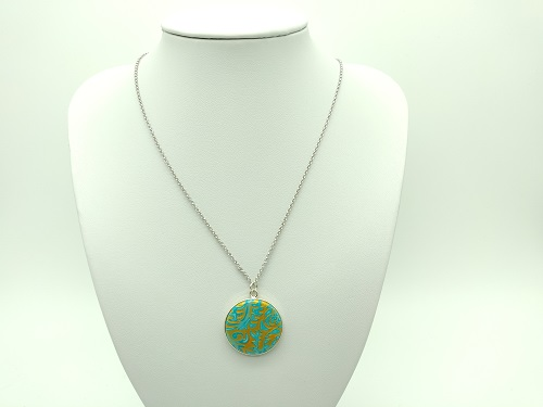 Pendentif cabochon turquoise or