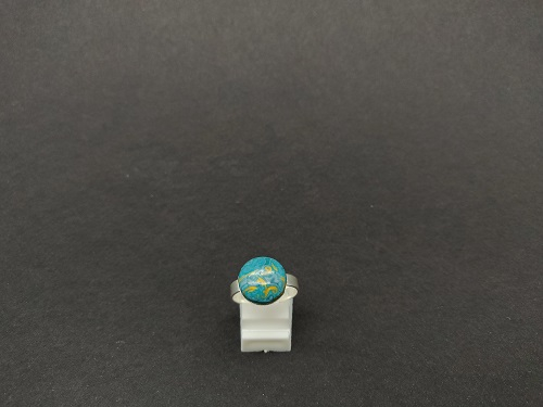 Bague argent turquoise or