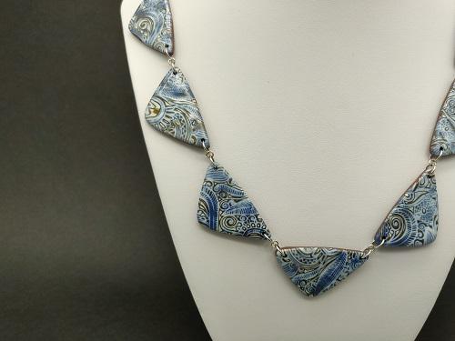 Collier bleu bronze triangle